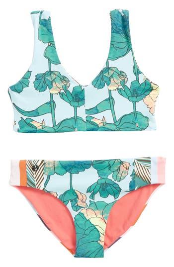 Girl's Maaji Jungle Divine Two-Piece Reversible Swimsuit, Size 8 - Blue