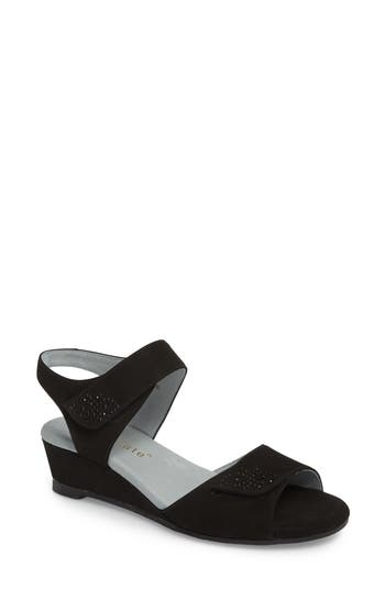 David Tate Queen Embellished Wedge Sandal, Black