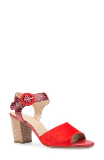 women's geox eudora block heel sandal, size 6.5us / 36.5eu - red