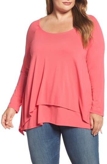 Plus Size Women's Bobeau Layered Knit Top, Size 1X - Pink