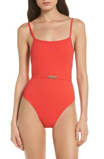 Diane Von Furstenberg Belted One-Piece Swimsuit, Size Petite - Orange