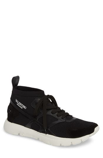 Men's Valentino Sound High Sneaker, Size 6US / 39EU - Black