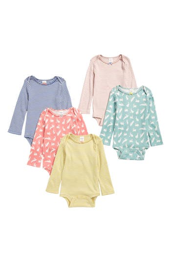 Toddler Girls Mini Boden 5Pack Print Bodysuits