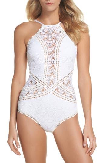 Becca Crochet One-Piece Swimsuit, White