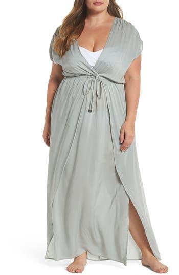 Plus Size Elan Wrap Maxi Cover-Up Dress, Blue