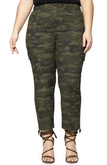 Plus Size Sanctuary Terrain Camo Crop Cargo Pants, Green