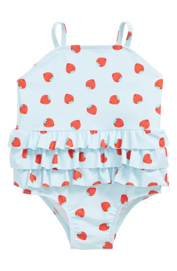 Infant Girl's Tucker + Tate Ruffle One-Piece Swimsuit, Size 3M - Blue