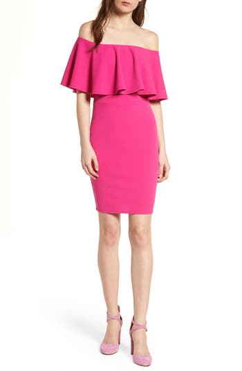 Women's Soprano Ruffle Off The Shoulder Body-Con Dress, Size X-Small - Pink