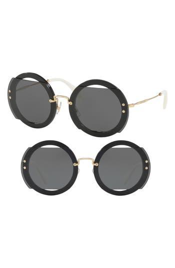 Miu Miu 6m Round Sunglasses - Dark Grey/ Black Solid