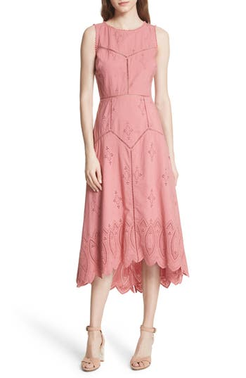 Joie Halone High/low Eyelet Dress, Pink