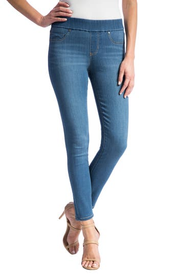 High Rise Stretch Denim Ankle Leggings