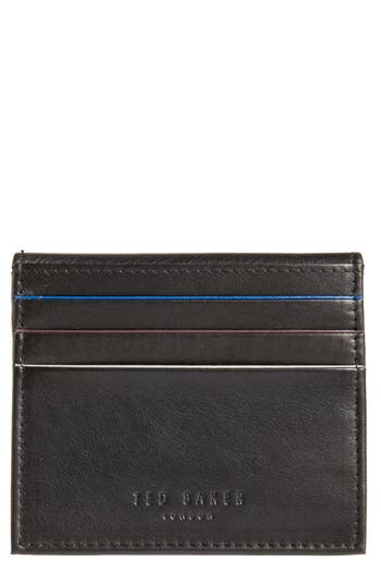 Ted Baker London Foxes Stripe Leather Foldover Card Case