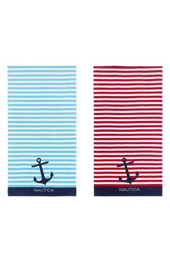 Nautica Bayside Set Of 2 Beach Towels, Size One Size - Blue