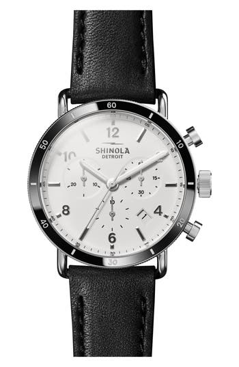 Shinola The Canfield Chrono Leather Strap Watch, 40mm