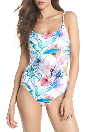 Tommy Bahama Fronds Ferdinan Reversible One-Piece Swimsuit, White