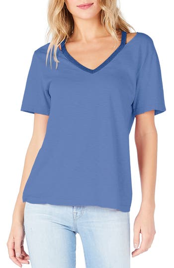 Michael Stars Cutout V-Neck Tee, Size One Size - Blue