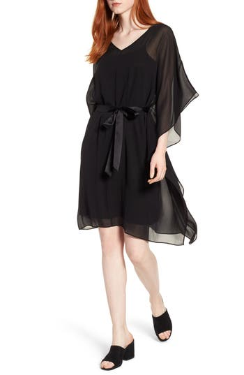 Eileen Fisher Belted Silk Caftan Dress, Black