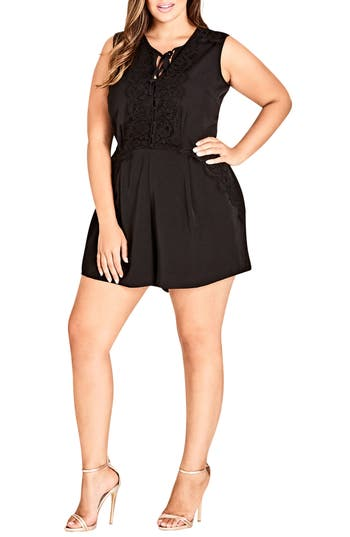 Plus Size Womens City Chic Lace Dream Playsuit Size XLarge  Black