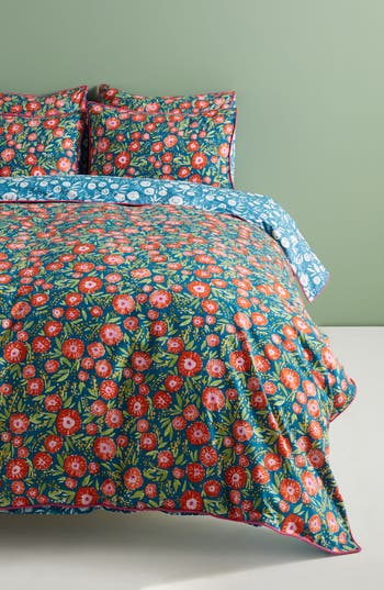 Anthropologie Painted Poppies Duvet Cover