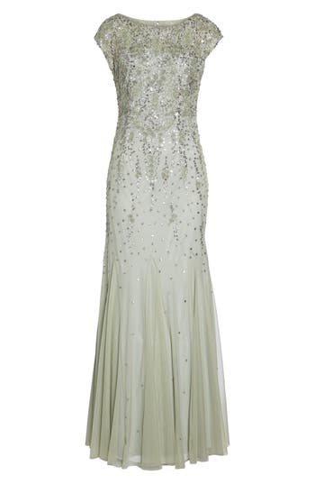 Adrianna Papell Beaded Mermaid Gown, Green