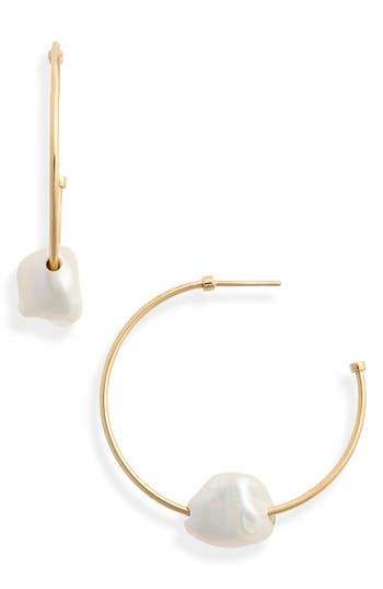 Meadowlark Baroque Cultured Freshwater Pearl Hoop Earrings