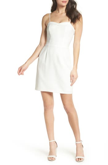 Charles Henry Fitted Corset Sheath Dress, Ivory