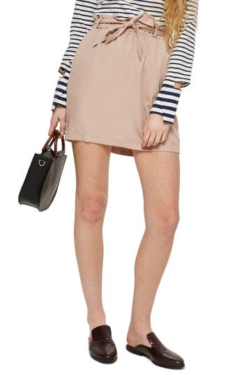 Topshop Paperbag Tie Miniskirt, US (fits like 0) - Pink