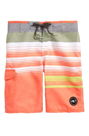Boys ONeill Stripe Board Shorts Size 24  Orange
