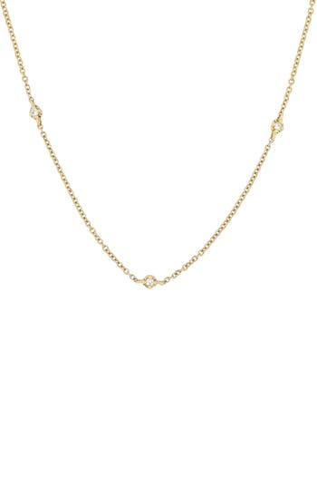 Bony Levy Mila Three-Diamond Short Station Necklace