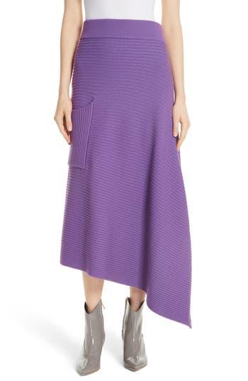Tibi Ribbed Merino Wool Asymmetrical Skirt