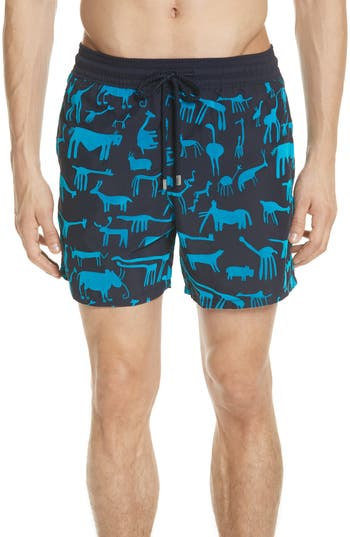 Vilebrequin Flocked Primitive Print Swim Trunks, Blue