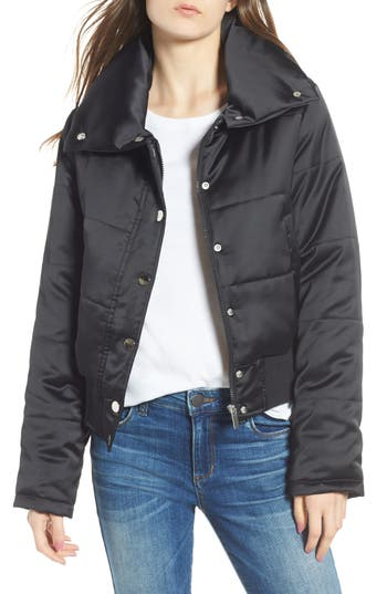 Maralyn & Me Shiny Crop Puffer Jacket
