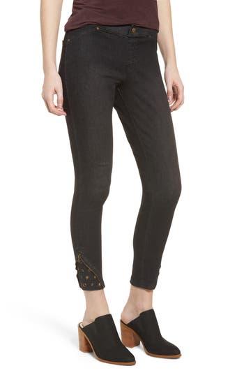 Zeza B By Hue High Waist Embellished Denim Skimmer Leggings, Black
