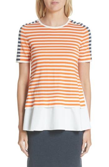 Women's Akris Punto Tricolor Stripe Mixed Media Tee