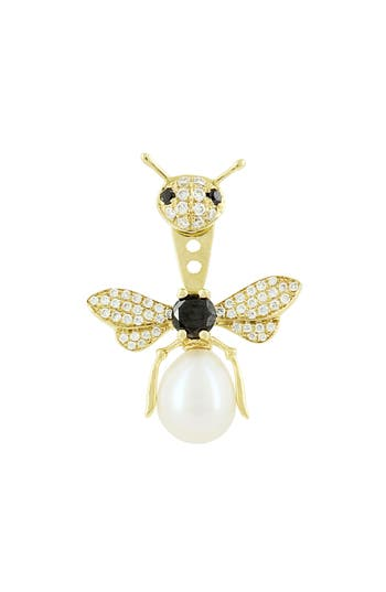 Yvonne Léon Bee Diamond, Black Diamond & Freshwater Pearl Ear Jacket