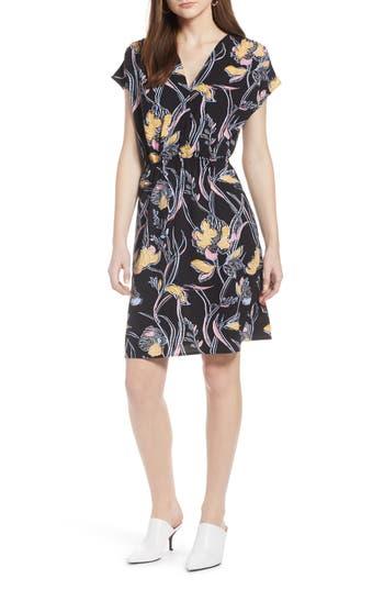 petite women's halogen faux wrap dress, size x-large p - black