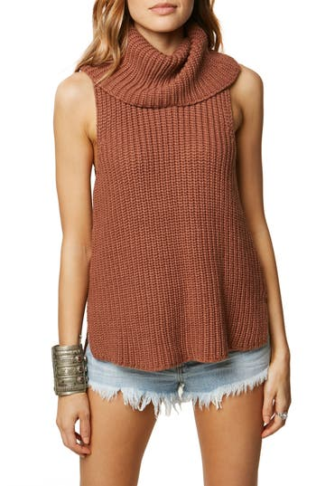 Women's O'Neill Rafaeli Sleeveless Turtleneck Sweater, Size X-Small - Brown
