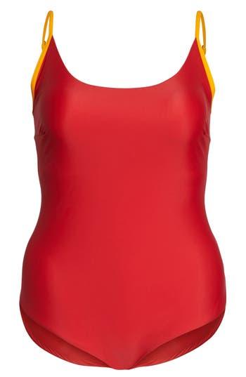 Plus Size Chromat Barrel One-Piece Swimsuit, Red