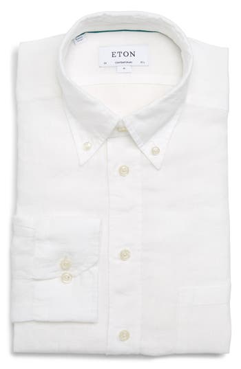 Men's Eton Contemporary Fit Solid Linen Dress Shirt