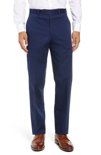 John W. Nordstrom® Torino Traditional Fit Flat Front Solid Stretch Cotton Trousers