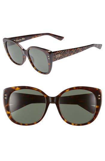 Dior Lady Stud 58mm Polarized Rounded Special Fit Sunglasses