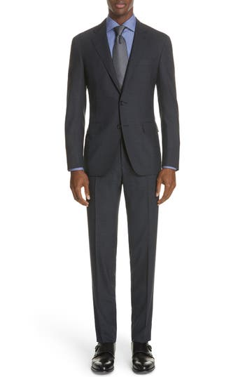 Canali Classic Fit Stretch Check Wool Suit
