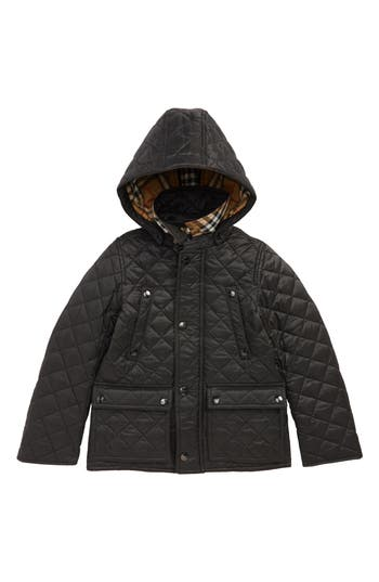 Boys Burberry Charlie Vintage Quilted Jacket Size 8Y  Black