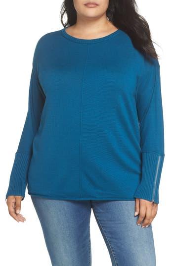 Caslon® Mix Gauge Zip Cuff Sweater