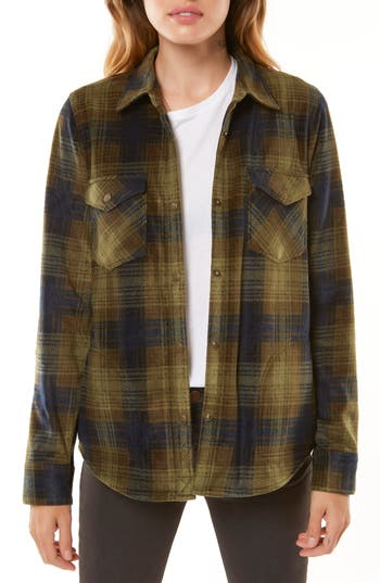 Women's O'Neill Zuma Plaid Fleece Flannel Shirt, Size X-Small - Grey