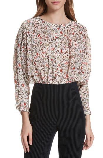 FRAME Floral Print Silk Blouse