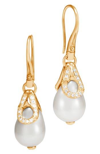 John Hardy Bamboo Gold Pearl & Diamond Drop Earrings
