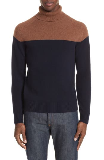 Eleventy Colorblock Cashmere Turtleneck Sweater