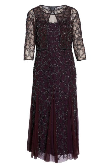 Plus Size Women's Pisarro Nights Sequin Mesh Gown With Jacket, Size 14W - Purple