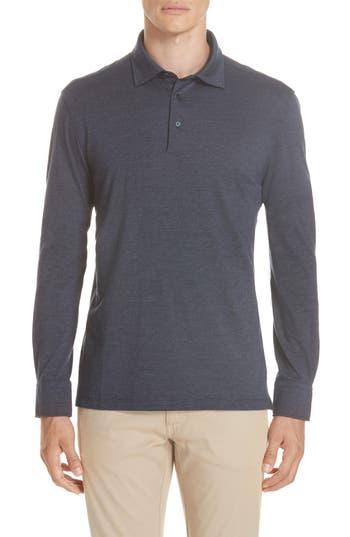 Men's Ermenegildo Zegna Wool & Cotton Long Sleeve Polo Shirt, Size 38 US / 48 EU - Blue